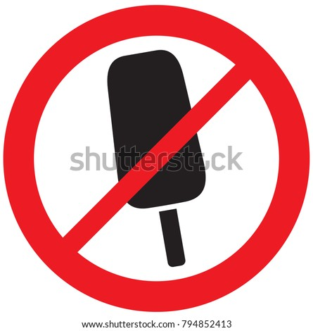 ice cream not allowed sign (prohibition icon)
