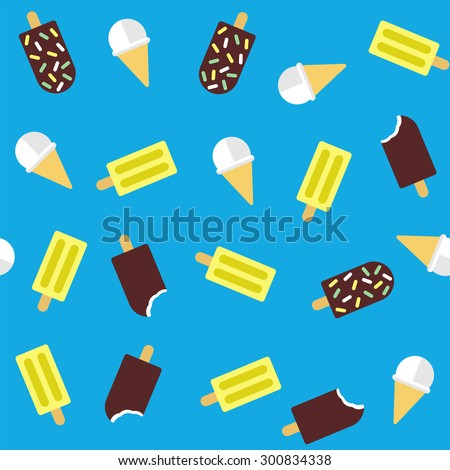 Ice cream on a blue background. Seamless pattern - stock vector