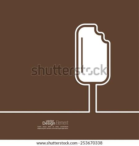 Ice cream on a stick on  background. Sweet treat, dessert. minimal. Outline. - stock vector