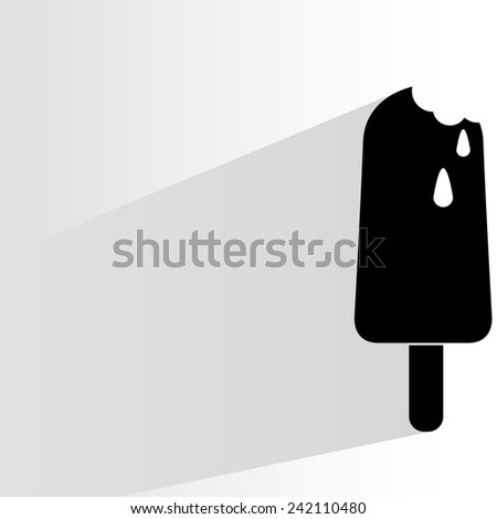 ice cream on white background, flat and shadow theme - stock vector