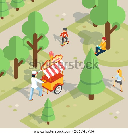 Ice cream outdoor. Ice cream seller rolls trolley through the park. Children and food, cheerful and walk and dessert. Vector illustration - stock vector