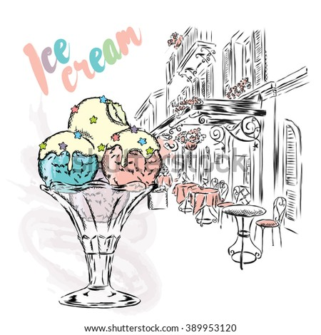 Ice cream painted by hand. Vector illustration. Postcard with dessert.