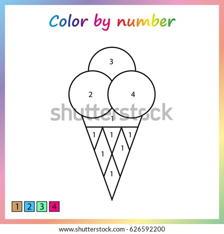 Ice Cream Painting Page Color By Stock Vector 626592200 - Shutterstock
