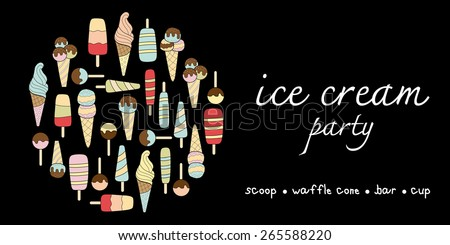 Ice cream party doodle pastel colors variation menu - stock vector