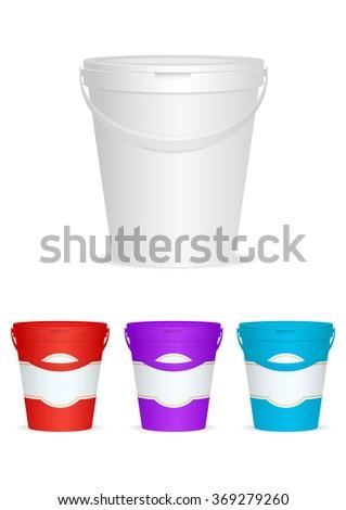 Ice cream Plastic Container. Vector illustration - stock vector
