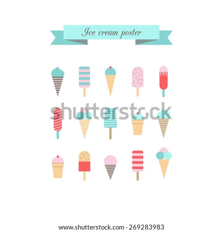 Ice cream poster. Retro style. Vector.