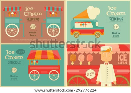 Ice Cream Posters Set in Flat Design Style. Ice Cream Vendor and Trolleys. Vector Illustration. - stock vector