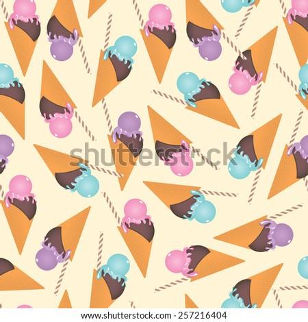 Ice cream seamless pattern - stock vector