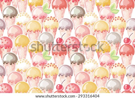 Ice cream seamless pattern. Summer background. - stock vector
