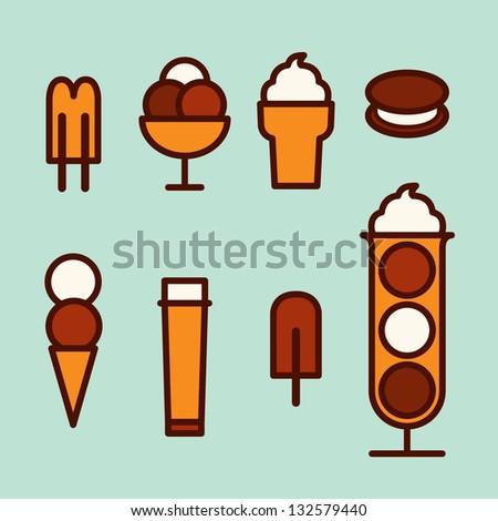 Ice cream set - stock vector