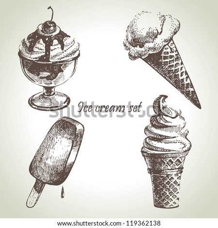 Ice cream set. Hand drawn illustrations - stock vector