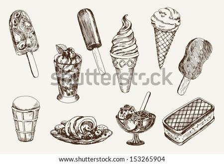 ice-cream. set of vector sketches - stock vector