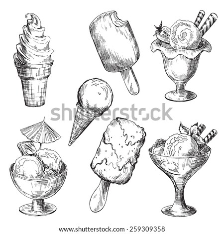 Ice cream set. Pen sketch converted to vectors. - stock vector