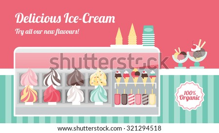 ice cream freezer clipart. ice cream shop with tasty colorful creams in metal trays cones popsicles and freezer clipart c