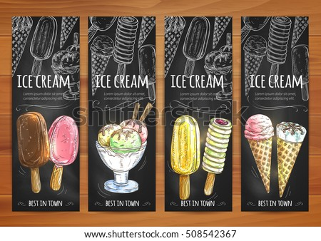 Ice cream sketch chalk banners. Price tags for ice cream assortment. Chalked elements of ice cream scoops in glass bowl, chocolate eskimo, sundae wafer cone, frozen fruit ice. Sweet dessert menu board