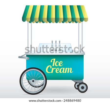 Ice Cream stand cart vector illustration isolated object - stock vector
