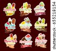 Ice cream stickers for dessert shop. Vector frozen ice cream sorts and tastes of lemon cookie, chocolate scoops in wafer cones, fruit or berry juice and vanilla with coconut sundae for cafe