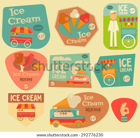 Ice Cream Stickers Set in Flat Design Style. Ice Cream Vendor and Trolleys. Vector Illustration. - stock vector