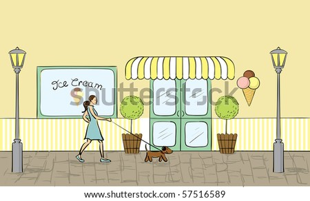 Ice cream store front view in vector format. - stock vector