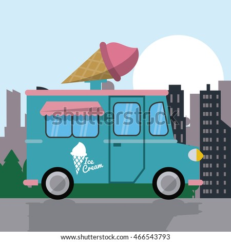 ice cream truck fast food delivery transportation creative icon. Colorful illustration. Vector graphic