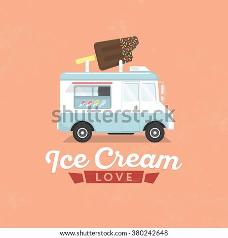 Ice Cream Truck / Flat Design Illustration - stock vector