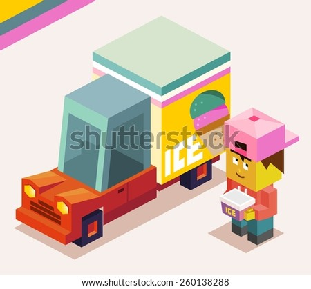 ice cream truck is cold. vector illustration - stock vector