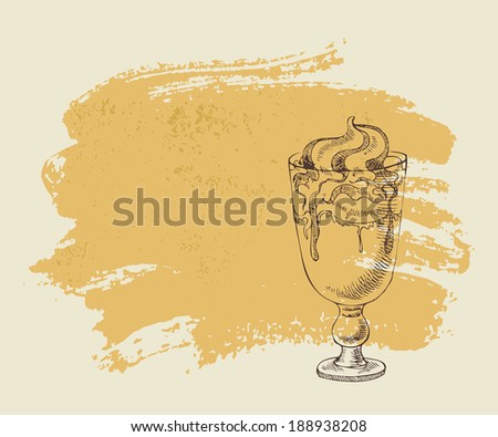 Ice cream with coffee cocktail on orange grunge background. - stock vector