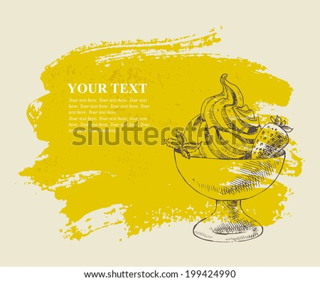 Ice cream with strawberry on yellow grunge background. - stock vector
