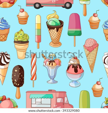 Ice creams collection pattern - stock vector