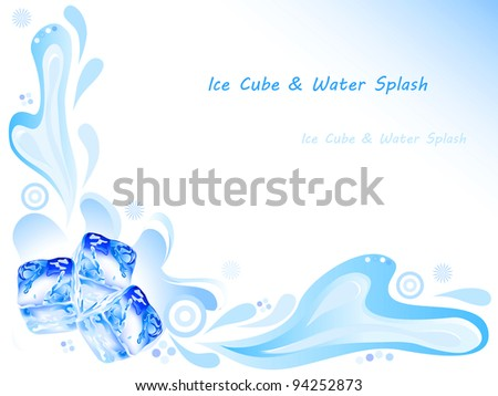 Ice cube and water splash with ornaments on blue background - stock vector
