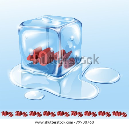 Ice cube on water surface, illustration - stock vector