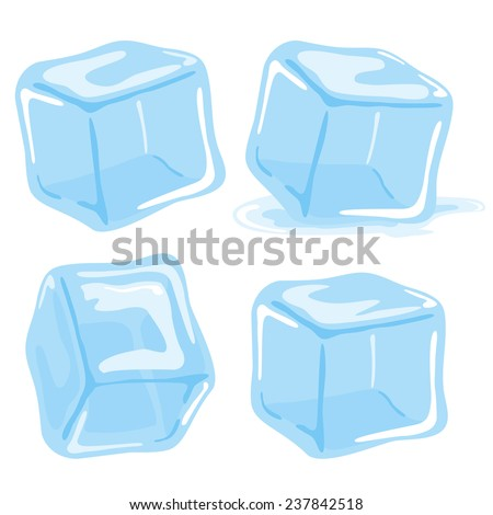 Ice cubes vector set on white background. - stock vector