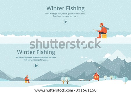 Ice fishing, a man on the ice fishing. House on mountain lake - stock vector
