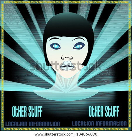 Ice Girl, Flyer for an Indie Club or DJ Set, vector background illustration - stock vector