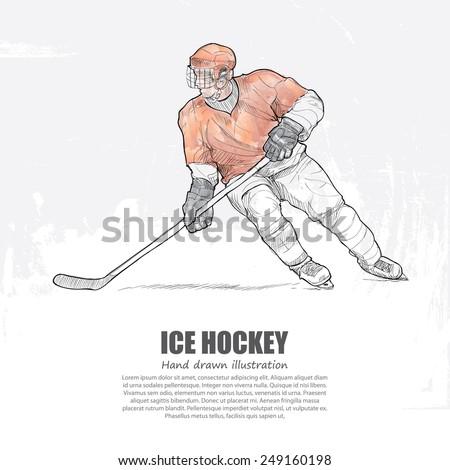 Ice Hockey background Design. Hand drawn. - stock vector
