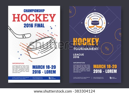 Ice hockey championship poster. Vector line illustration hockey stadium and puck. - stock vector
