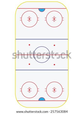 Ice hockey field vector isolated on white, sport stadium, winter sport - stock vector