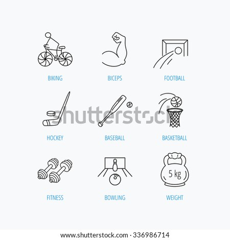 Ice hockey, football and basketball icons. Fitness sport, baseball and bowling linear signs. Biking, weightlifting icons. Linear set icons on white background. - stock vector