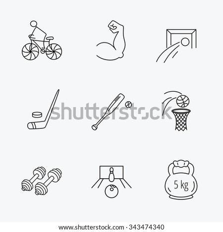 Ice hockey, football and basketball icons. Fitness sport, baseball and bowling linear signs. Biking, weightlifting icons. Linear black icons on white background. - stock vector