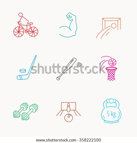 Ice hockey, football and basketball icons. Fitness sport, baseball and bowling linear signs. Biking, weightlifting icons. Linear colored icons. - stock vector