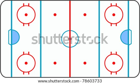 ice hockey ground with all lines on white background - stock vector
