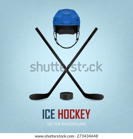 Ice hockey helmet, puck and crossed sticks on ice rink background. Vector EPS10 illustration.  - stock vector