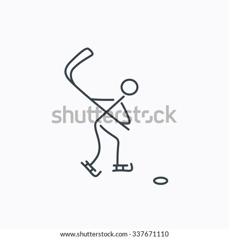 Ice hockey icon. Professional sport game sign. Linear outline icon on white background.