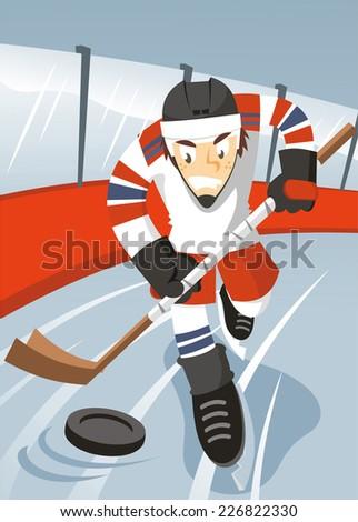 Ice hockey player cartoon illustration - stock vector