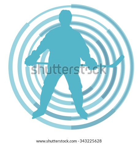 Ice hockey player in winter vector background concept