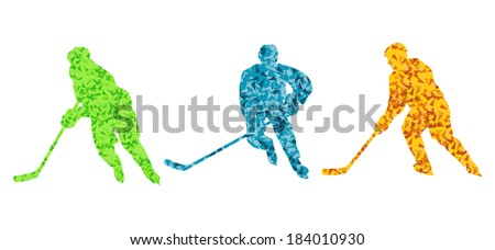 Ice hockey player silhouette sport abstract vector background - stock vector