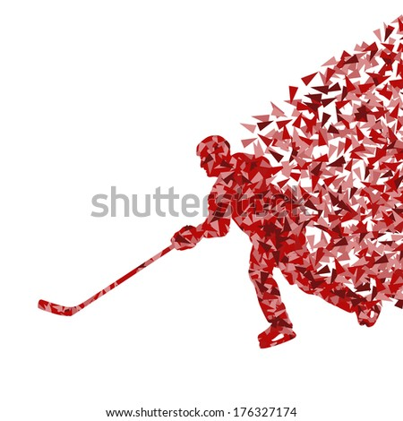 Ice hockey player silhouette sport abstract vector background concept made of triangular fragments exploasion - stock vector