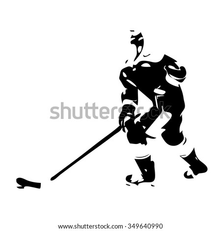 Ice hockey player. Vector silhouette - stock vector