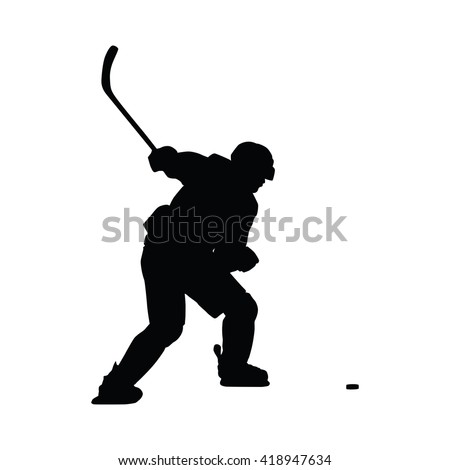 Ice hockey player vector silhouette. Hockey player shoots the puck on goal, isolated silhouette. Shooting hockey player