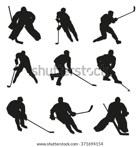 Ice hockey players silhouettes set. Big collection of hockey players